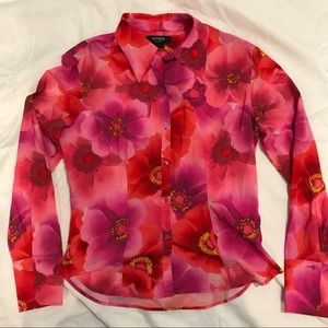 Express Purple & Pink Long Sleeve Button Down